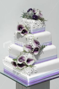purple floral cake toppers for weddings | ... || Four Piece Purple Vermeer Lily & Thistle Wedding Cake Topper