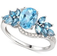 ) in White Gold A statement piece to treasure. This ring has everything; gorgeous oval and marquise blue topaz, sparkling diamonds, and a timeless graceful style. Jewelry Rings, Jewelry Watches, Buy Gemstones, Blue Topaz Ring, Diamond Are A Girls Best Friend, Gemstone Earrings, Beautiful Rings, Ring Designs, White Gold
