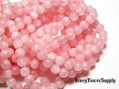 1 Strand 8mm Rose Quartz Beads Natural Stone Beads Pink Beads Semi Precious Beads Gemstone Beads Round Beads (8.00 USD) by IvoryTowerSupply