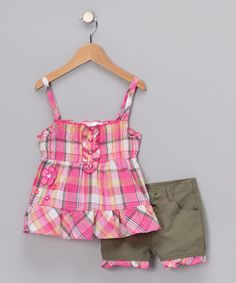 Young Hearts Pink Plaid Tunic Shorts $14.99