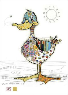 Gorgeous card with Dotty Duck in patckwork design and gold foil detail from Bug art cards.Each card is blank inside and comes with a good quality envelope. Card size x Pintura Graffiti, Art Carte, Bug Art, Happy Paintings, Owl Paintings, Free Motion Embroidery, Animal Quilts, Applique Quilts, Whimsical Art