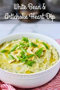 White Bean and Artichoke Heart Dip Recipe Vegetarian Appetizers, Yummy Appetizers, Appetizers For Party, Appetizer Recipes, Snack Recipes, Healthy Recipes, Cold Dip Recipes, Best Dip Recipes, Bean Recipes