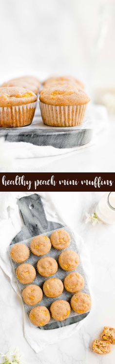 Healthy Peach Mini Muffins -- only 31 calories! They're easy to make and SO moist & tender, thanks to Greek yogurt! Definitely the BEST peach muffins I've ever had! ♡ sugar free healthy peach muffins. easy gluten free peach muffins. fresh or canned peach muffins. healthy no sugar peach muffins.