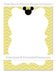 Free Straw Yellow Chevron Blank Minnie Mouse Invitation