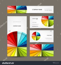 Colorful rainbow puzzle pieces forming circle vector graphic business cards collection for your design reheart Images