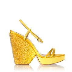 Salvatore Ferragamo: Vanilla Spicy Wedge ($795) ❤ liked on Polyvore featuring shoes, sandals, yellow, open toe wedge sandals, wedges shoes, salvatore ferragamo shoes, yellow shoes and leather wedge sandals