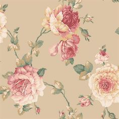 York Wallpaper pattern name Lg Rose Vine. This pattern sold at Mahones Wallpaper Shop at an exceptional price. Remember Mahones Wallpaper Shop only sells hand materials straight from York Wallpaper. Flower Wallpaper, Pattern Wallpaper, Wallpaper Backgrounds, Wallpapers, Accent Wallpaper, Unique Wallpaper, Decoupage, Vintage Paper, Vintage Floral