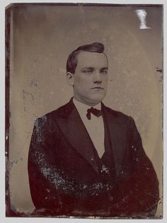 tintype photo lg full plate 7 x 5 hand tinted painted business man  antique 1800
