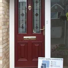 Palermo style in Burgundy, with TG110  glazing and Gold hardware. About The Palladio Door Collection UK Profile Developments have endeavoured to provide a superior composite door which has resulted in the iconic Palladio Door Collection. Not only are their doors strong, a-rated and highly secure, they combine tradition with the latest innovation putting them at the forefront of the composite door industry in the UK. Composite Front Door, House Outside Design, Solid Doors, Palermo, Gold Hardware, Tall Cabinet Storage, Innovation, Composition, Burgundy