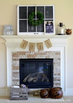 10 Fall Decorating Ideas for Blue Rooms Burlap Bunting, Buntings, Fall Banner, Fall Bunting, Diy Arts And Crafts, Fall Crafts, Fall Arrangements, Hello Autumn, Fall Fireplace