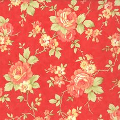 Moda Avalon by Fig Tree - 2431 - Peach Floral on Warm Red