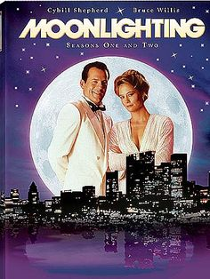 Moonlighting's Bruce Willis as David Addison, Cybill Shepherd as Maddie Hayes & Allyce Beasley as Agnes DiPesto