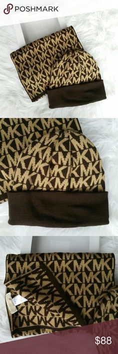 🚨LAST CHANCE🚨Michael Kors gift set 🌟🌟Trusted seller,Suggested User🌟🌟 💯Authentic   Brand new with tags Chic Michael Kors hat and scarf set! Is MK set would make a wonderful gift for yourself or someone you care for. Tan and brown      💖Shop with confidence💖💖 🎉🎊Suggested User🎊🎉 📮💌Same day shipping📮💌 5🌟🌟🌟🌟🌟star rated closet Hat / Beanie Michael Kors Accessories Scarves & Wraps