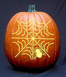 Spider in Web Pattern - Free Halloween Pumpkin Carving Patterns - Dot Com Women Samhain Halloween, Halloween Art, Holidays Halloween, Halloween Pumpkins, Halloween 2018, Pirate Pumpkin, Spooky Pumpkin, Spider Pumpkin, Pumpkin Ideas