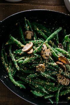 Miso Dijon Green Bean Mushroom Salad by iamafoodblog #Salad #Green_Beans #Mushroom