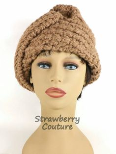 Womens Crochet Hat Womens Hat Crochet Beanie Hat Toasted Almond Hat ACORN Beanie Hat Women by strawberrycouture by #strawberrycouture on #Etsy