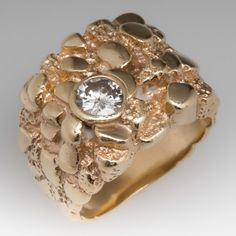Vintage Diamond Mens Ring Nugget Motif 14K Gold 1970's