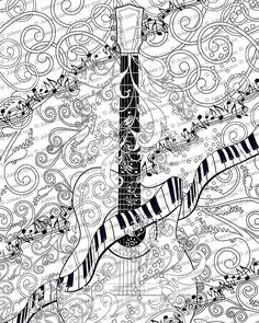 Adult Coloring Page, Printable Adult Coloring Book Page, Line Art Instant Download Print. Guitar Piano Scroll  Coloring books have now grown up with intricate designs and fun patterns. These original works of art by Juleez are created by artist Julie Borden. Now you can color your own Juleez Art and create a collection that is your signature colors. A great creative outlet and fun for kids and for adults. Sharpen your pencils, grab your favorite markers, or check out my larger sized…