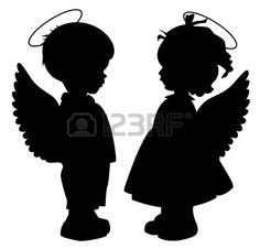 Zwei schwarze Engel Silhouetten auf weißem isoliert