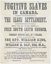 FUGITIVE SLAVES IN CANADA poster, 1860