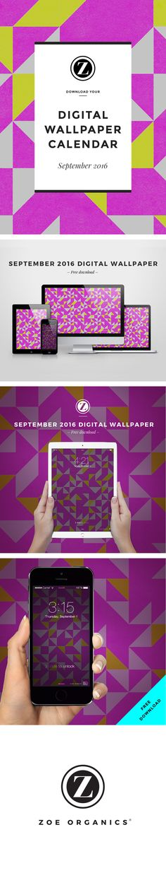 Zoe Organics Digital Wallpaper  |  Free Download  |  September 2016 desktop calendar wallpaper