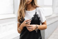 how to wear a black lace slip dress over tee shirt