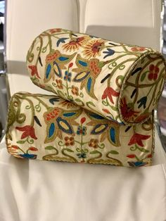 SET FABRICUT WILMETTE ROYALTY CREWEL EMBROIDERED SILK ROLL HOME DECOR PILLOWS  | eBay