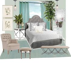 SOOTHING MASTER SUITE - BY KATE featuring Benjamin Moore, #paint #color AF-485 Crystalline