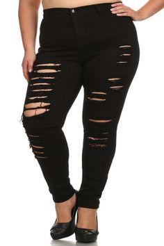 ad244a963aed8 Plus Size High Waist Slashed Black Denim Jeans – PLUSSIZEFIX Black Denim  Jeans