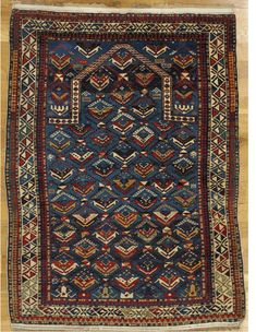 "Shirvan prayer rug from Eastern Caucasus.Age: circa 1875 Size: 4'.10""x3'.8"" (147x112 cm)."