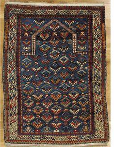 "Shirvan prayer rug,Eastern Caucasus,circa 1875, 4'.10""x3'.8"" (147x112 cm)."
