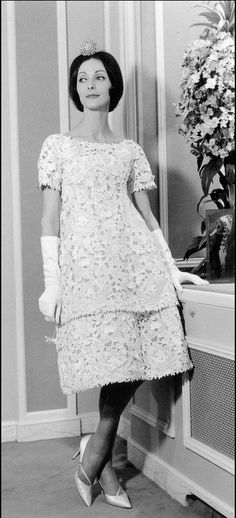 1959 Kouka Denis in two-piece guipure lace dress by Yves Saint Laurent for Dior,