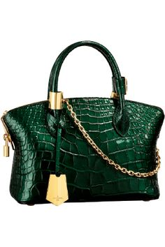 Green croc satchel