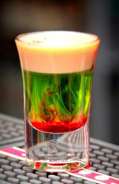 A delicious recipe for a Fallen Froggie made with Melon liqueur, Baileys and grenadine