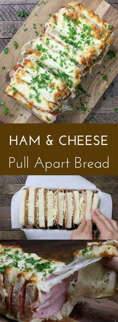 Ham and Cheese Pull Apart is a super yummy and easy recipe that only requires 5 common ingredients (bread, cheese, ham, oil and seasoning). And it fits inside any rectangular loaf pan easily to bake in the oven.