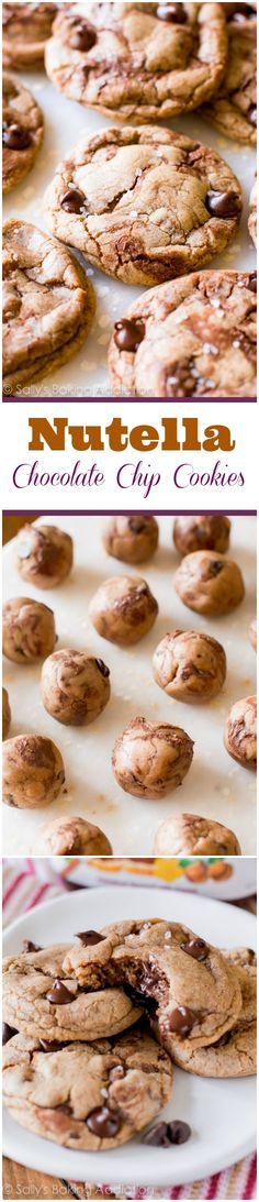 Chewy edges, soft centers, a little sea salt, and ALL the Nutella in every single chocolate chip bite! These are amazing and they don't even need chilling! Cookie Desserts, Just Desserts, Cookie Recipes, Delicious Desserts, Dessert Recipes, Yummy Food, Nutella Chocolate Chip Cookies, Chocolate Muffins, Chocolate Chips