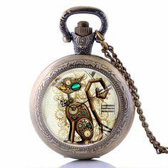 My Times Jew : Bronze Vintage Steampunk Cat Pocket Watch Necklace Pendant Gift…