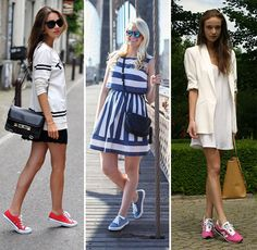 10 Ways of Wearing Running Shoes and Sneakers With Dresses  #sneakerswithdresses #streetstyle