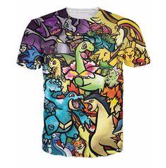 656599ca 2016 Unisex Men/Women T Shirts Camisetas Printed Pokemon T-Shirts Sexy  Universe Pikachu Plus Size teeshirt homme