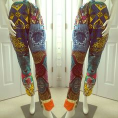 Afro Ethnic Drawstring Patchwork Pants Beautiful, one of a kind design with side pockets. Can fit medium to large Pants