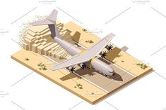 Vector isometric low poly desert airstrip with humanitarian or military cargo airplane landing on dusty runway. Travel #vector #isometric
