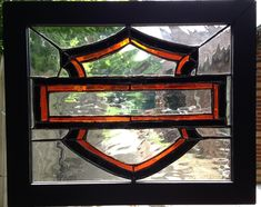 Harley Davidson stained glass My son had one made for me for Christmas very similar  but mine is AWESOME.... LOVE IT