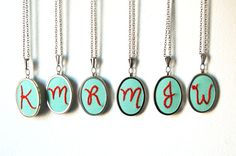 I want two, one chain.   Initial Necklaces Embroidered by Hand by merriweathercouncil, $35.00