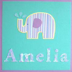 Personalized baby girl room nursery child art aqua teal purple elephant. $8.00, via Etsy.