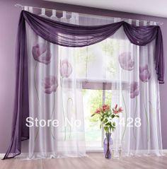 Aliexpress.com : Buy (2pcs/lot) UK handmade inkjet window living room sheer gauze curtains (150*245cm)  yellow, purple, red from Reliable ga...