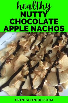 These nutty chocolate apple nachos make the perfect healthy after school snack for kids, or just a sweet treat for grown ups too!  You'll love how easy it is to make this healthy apple snack recipe, and that you only need 4 ingredients.