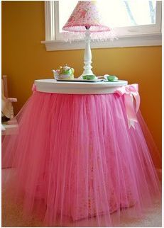 How cute for little princess Annalee All you do is hot glue a tutu to their night stand. Make sure the tut is long enough that it goes to the floor. Then get a cute bow tie ribbon and hot glue it the tutu.