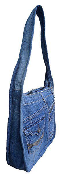Amazon.com: BDJ Upcycling Blue Denim Jean Handle Hobo Shoulder Handbag (Style 4): Shoes