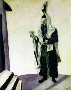 1924 Marc Chagall. Soukkot, le Rabbin au citron Huile sur Toile 104x84 cm Collection Particulière. #Art #Francia @deFharo