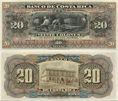 Costa Rica 20 Colones ND(1901) (miners working)